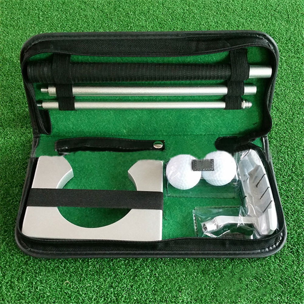 Portable Golf Putter Putting Trainer Set Indoor Training Equipment Golfs Ball Holder Training Aids Tool with Carry Case 6