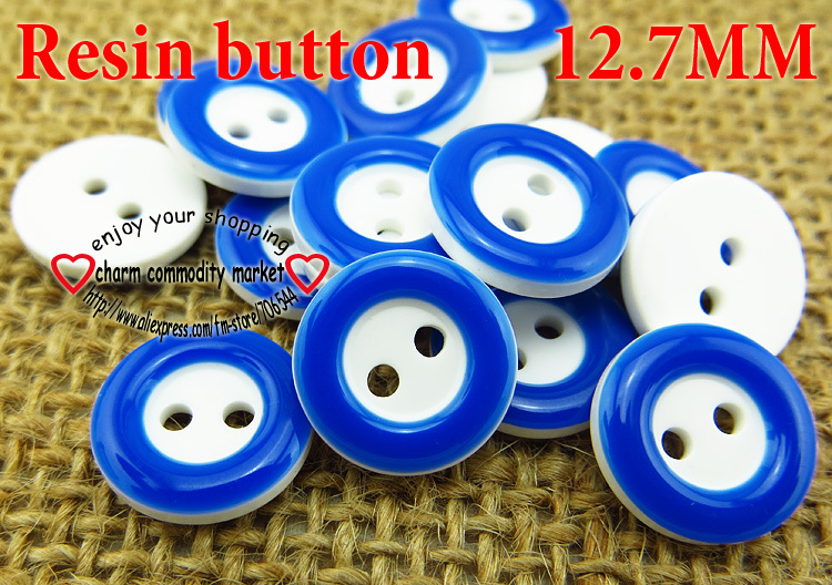 150PCS 12.7MM Navy blue Dyed RESIN 2-Holes buttons coat boots sewing clothes accessories ...
