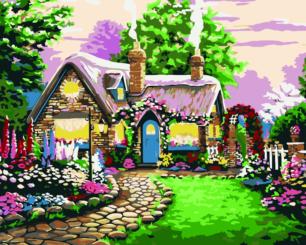 HQ Canvas Oil Painting by Number sea Digital village fairy tale ...