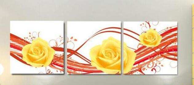 Modern red and white wall art on canvas 3 piece yellow rose flower ...
