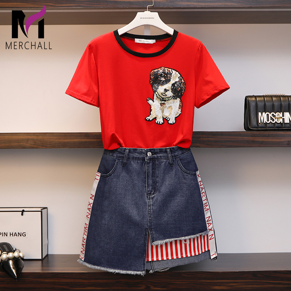 2019 Fashion Designer Top Tee Denim Skirt Set Women Two Pieces Set Dog Sequined T Shirt Red Top + Mini Jean Letter Bodycon Skirt