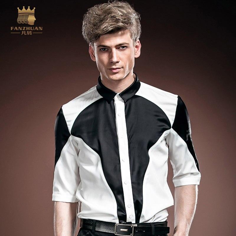 FANZHUAN marques phares vêtements Designer marée mode noir et blanc contraste Slim coréen été mi-manches hommes chemise