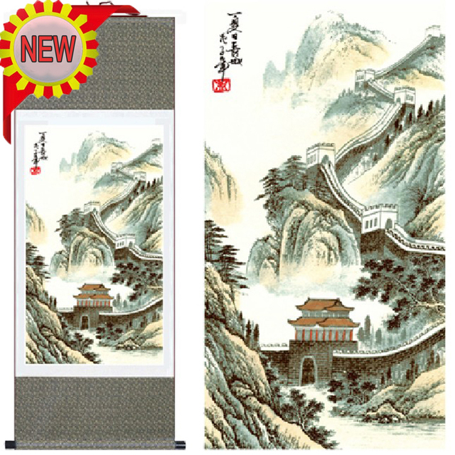 Traditional Chinese Landscape Wall Art Picture Paintings The Great Silk Hanging Scroll Painting Calligraphy