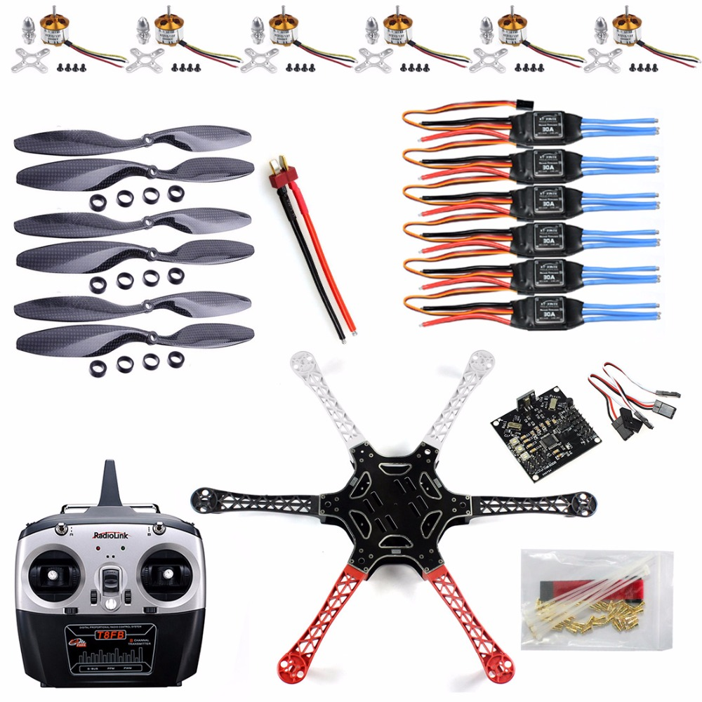 F05114-J F550 Drone Heli FlameWheel Kit With KK 2.3 Flight Controller ESC Motor Carbon Fiber Propellers + RadioLink 8CH TX RX