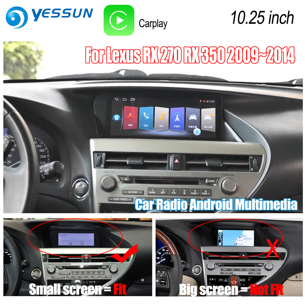 YESSUN For Lexus RX 270 RX 350 2009~2014 Car Android Carplay GPS Navi maps Navigation Player Radio Stereo no DVD HD Screen yessun for lexus al20 rx 300 rx 200t rx 450h 2015 2018 car android carplay gps navi maps navigation player radio stereo no dvd