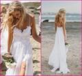 Impressionante Boho Vintage Praia Branca Low Back Vestidos de Casamento 2016 Vestidos de Chiffon Dreamy Spaghtti Straps Slit Lace Curto na Frente