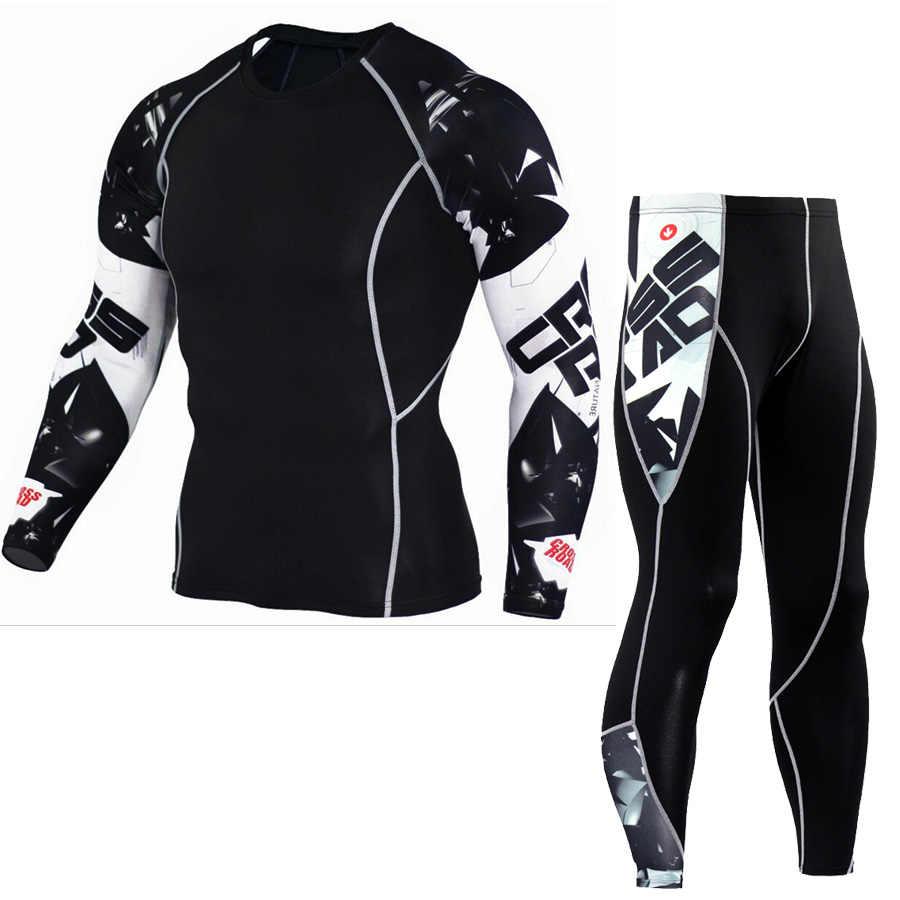 Mannen Thermisch Ondergoed Set Lange Mouw Fitness Panty Sportkleding Compressie Elastische Atletiek Running Wear