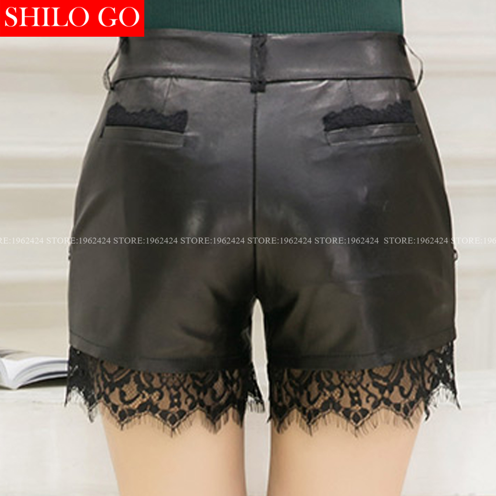 SHILO GO New Fashion Street Women Empire Black Sexy lace stitching Shorts Leather sheepskin Genuine Shorts Ladies Concise Shorts - 5