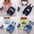2016 Novo bebê Verão define meninos roupas de algodão o-pescoço shorts com caráter terno conjunto de roupas de impressão crianças toolders A122-A159