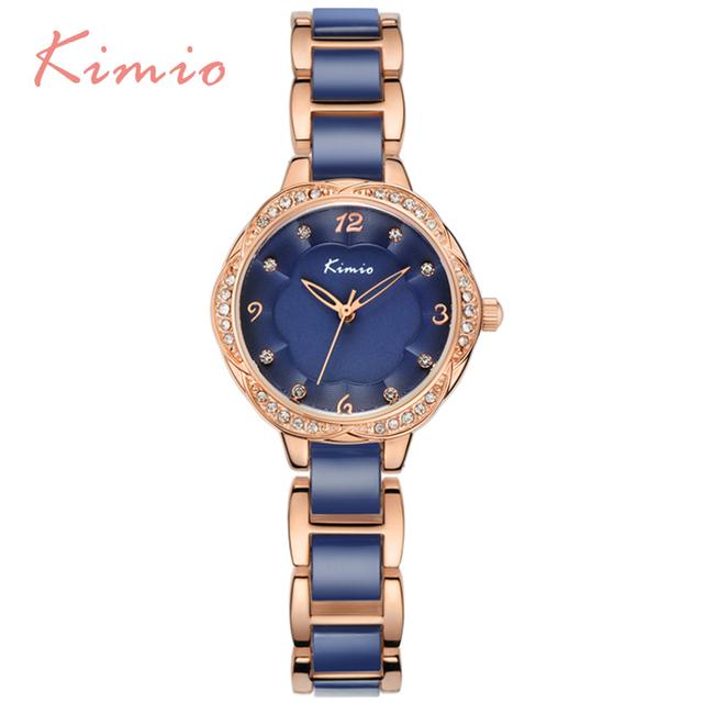 Kimio novo design de moda pulseira relógios para mulher de diamante de cristal de quartzo-relógio montre relojes mujer 2016 ocasional azul femme6016