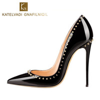 Rivets Shoes Woman High Heels Pointed Toe Sexy 12CM Heels Beige Patent Leather Ladies Shoes Fashion