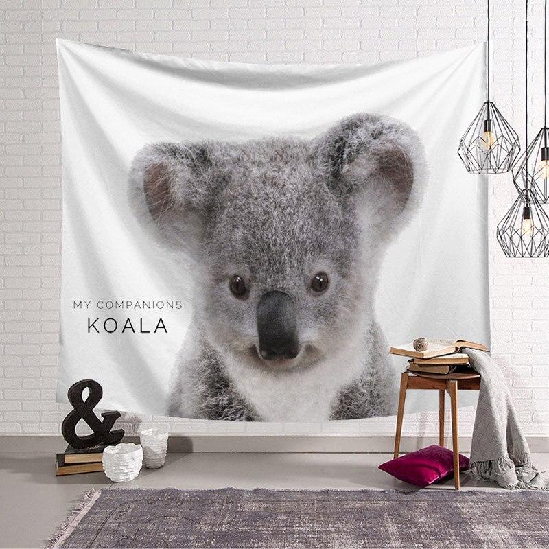 Animal Tapestry Wall Hanging Bohemian Bedspread Dorm Decor Tapestries Shooting Background Yoga Mat Rug Panda Koala Pig