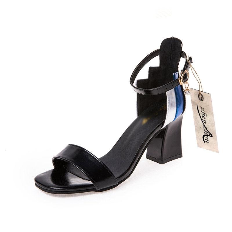 Estilo silver Carga Black Del Grueso Cuadrado 2018 En blue Zapatos Nueva Sandalia Libre Verano Tacón Talón nfxFnq1Xw