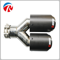 Carbon Fiber Trimming Stainless Steel Universal Car Exhaust Pipe Tip 63mm 89mm Akrapovic Car Exhaust System