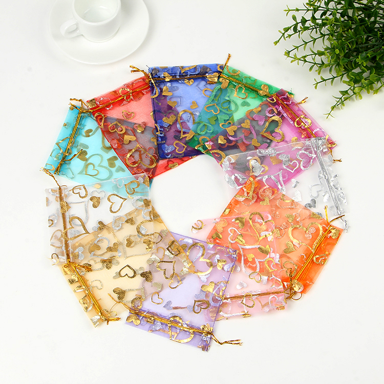 100pcs/lot Small Organza Bags 7x9cm Hearts Design Wedding Jewelry Bag Drawstring Pouch Nice Charms Gifts Jewelry Packaging Bags