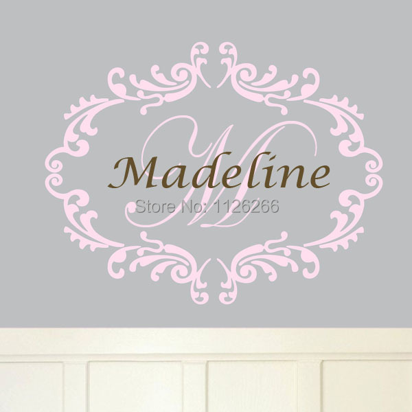Personalized Name Wall Sticker Frame And Initials Wall Decal Vinyl Art  Wallpaper And Poster For Baby Part 45