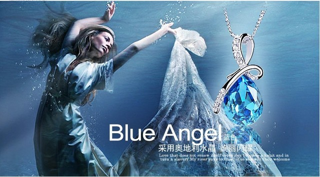 Free shipping collar necklace Austria imported water drop crystal pendants angel tear crystal jewelry