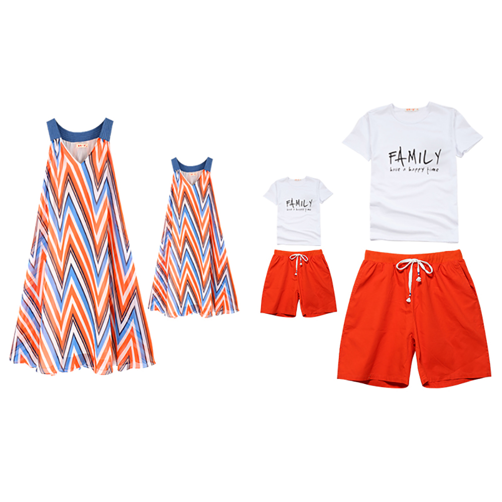 JY1828 Summer Fashion Casual Family Matching Outfits Clothes Mother Daughter Dress Father Son Short Pants+Short Sleeve T-shirt все цены