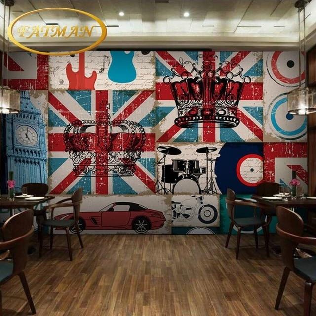 Individuelle Fototapeten Retro Brick Wall Musik Graffiti Tapete
