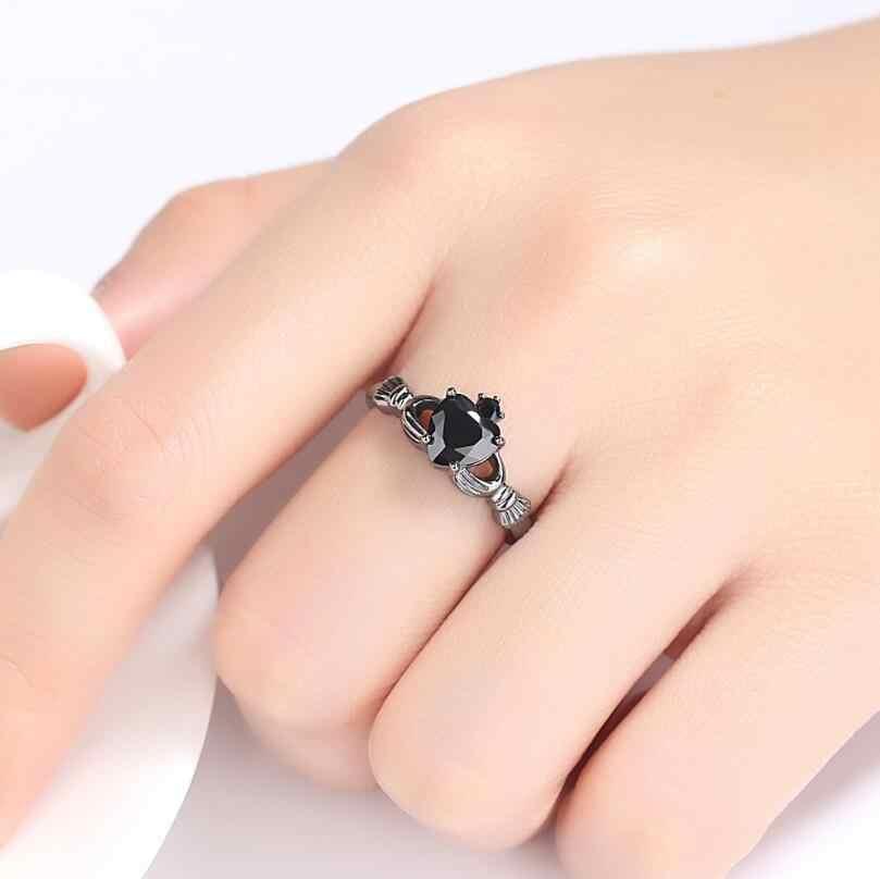 Anenjery אישיות שחור זהב צבע חודים הגדרת CZ אהבת לב קראון טבעת חתונת אירוסין טבעת לנשים קסם מתנה T-R106