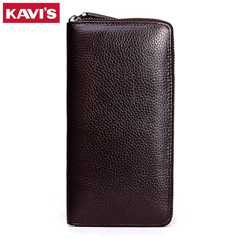 KAVIS Luxury Brand Genuine Leather Womens Wallets And Purses Female Long Portomonee Lady Vallet Coin Purse Money Bag For Girls