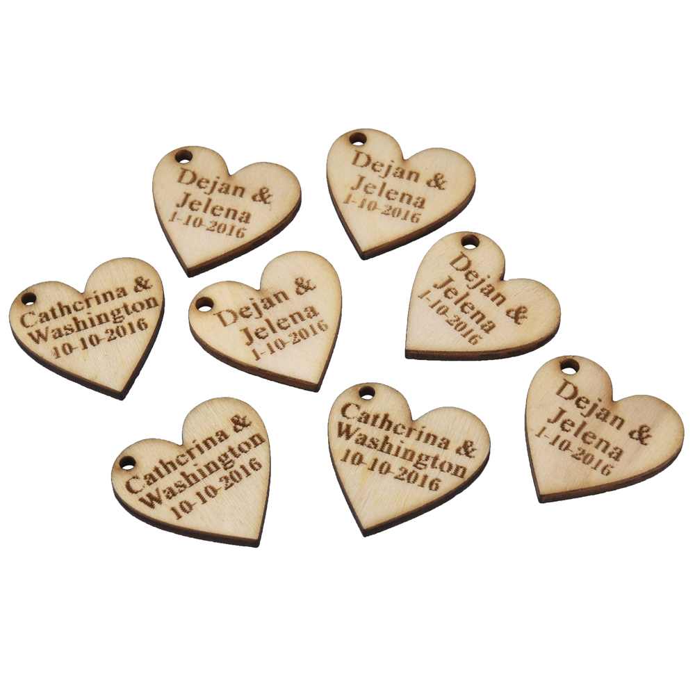 30 Pieces Personalized Engraved Wood Hangs Love Heart Centerpieces ...