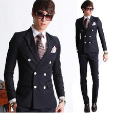 New Style Black Double Breasted Wedding Men Suit Slim Fit Formal Groom Wear Tuxedos For Men Business Suit Jacket+Pants