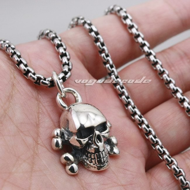 Skull Cross Bone Solid 925 Sterling Silver Mens Biker Pendant 8C010(Necklace 24inch) skull cross bone solid 925 sterling silver mens biker pendant 8c010 necklace 24inch