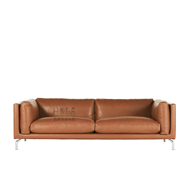 Imported Cowhide Leather Sofa Scandinavian Modern Minimalist Style Feather Fashion Designer Quality Furniture