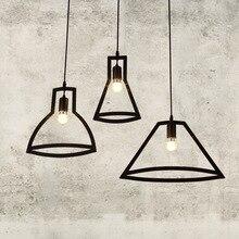 Винтаж ретро геометрический светодио дный подвесные светильники Лофт гладить Art Подвеска лампы Творческий Кафе-бар украшения подвесной светильник подвесные светильники