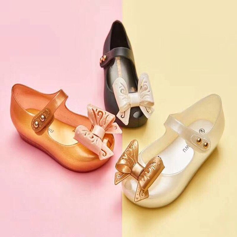summer shoes kids shoes bow-knot Jelly Girls Sandals 4 color mini melissa Sapato causal shoes soft 13-18cm Children Shoes Girls