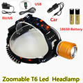 1 Set Rechargeable 2000lm XM-L T6 LED Headlight Lantern 3-Mode Adjust Focus linterna frontal Headlamp Flashlight Zoom Head Ligh