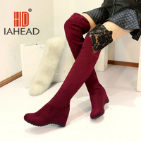 Women Boots Fashion Hidden Wedges Boots Over The Knee High Leg Suede Long Black Lace Women