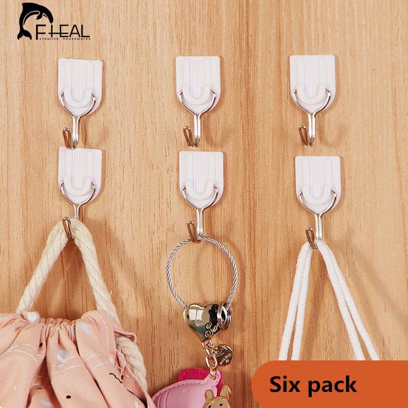 FHEAL 6Pcs/set Self Adhesive Wall home kitchen Door Hook Hanger Bag Keys Bathroom Kitchen Sticky Holder