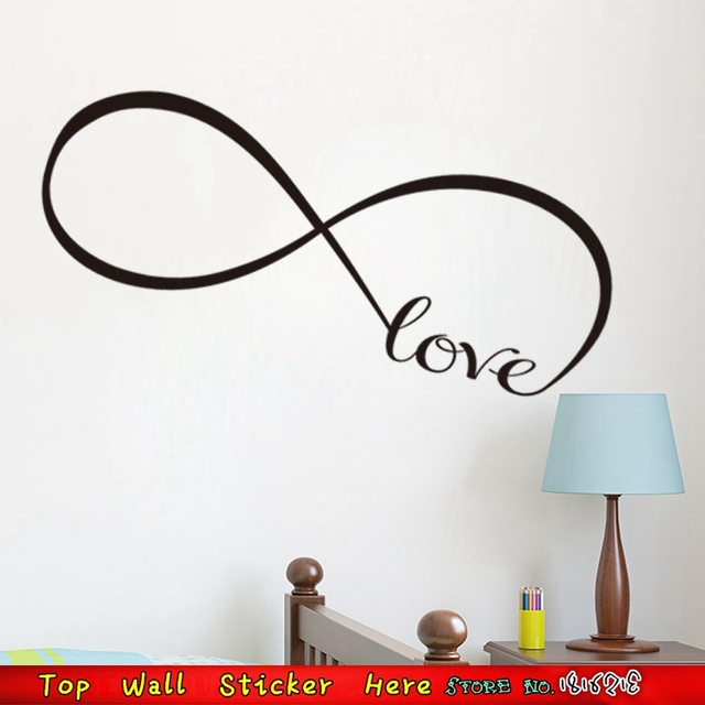 Top Quality Infinity Symbol Love Wall Sticker Wedding Bedroom Mural Art Decoration Removable Paper Paste