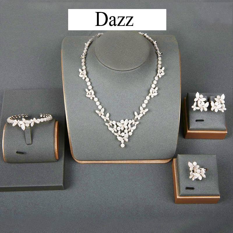 Dazz Luxury Butterfly Tricolor Zircon Copper Wedding Jewelry Set For Women Nigeria Party Necklace Earrings Dubai 4PCS Sets GiftsDazz Luxury Butterfly Tricolor Zircon Copper Wedding Jewelry Set For Women Nigeria Party Necklace Earrings Dubai 4PCS Sets Gifts