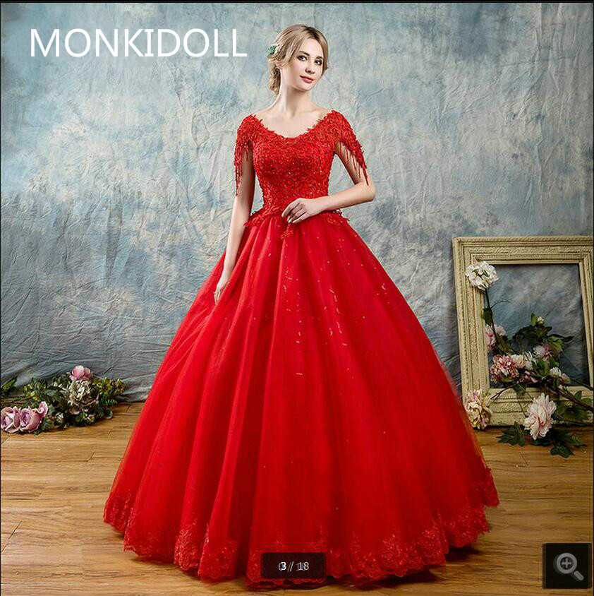 New Arrival Ball Gown Cap Sleeve Red Lace Wedding Dress V Neck Open Back Sexy Beading Crystals Shiny Wedding Gowns Bride Dress