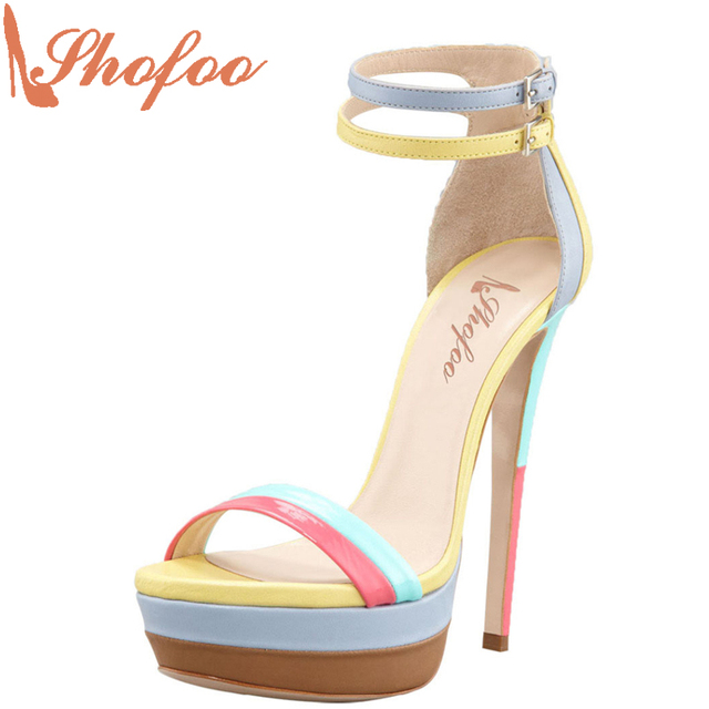 7e165c9bfb0 Yellow Rainbow Sandals With Platform Superstar Shoes Top Quality 14cm High  Heels Clogs Party Casual Wedding Shoes 33 Shofoo