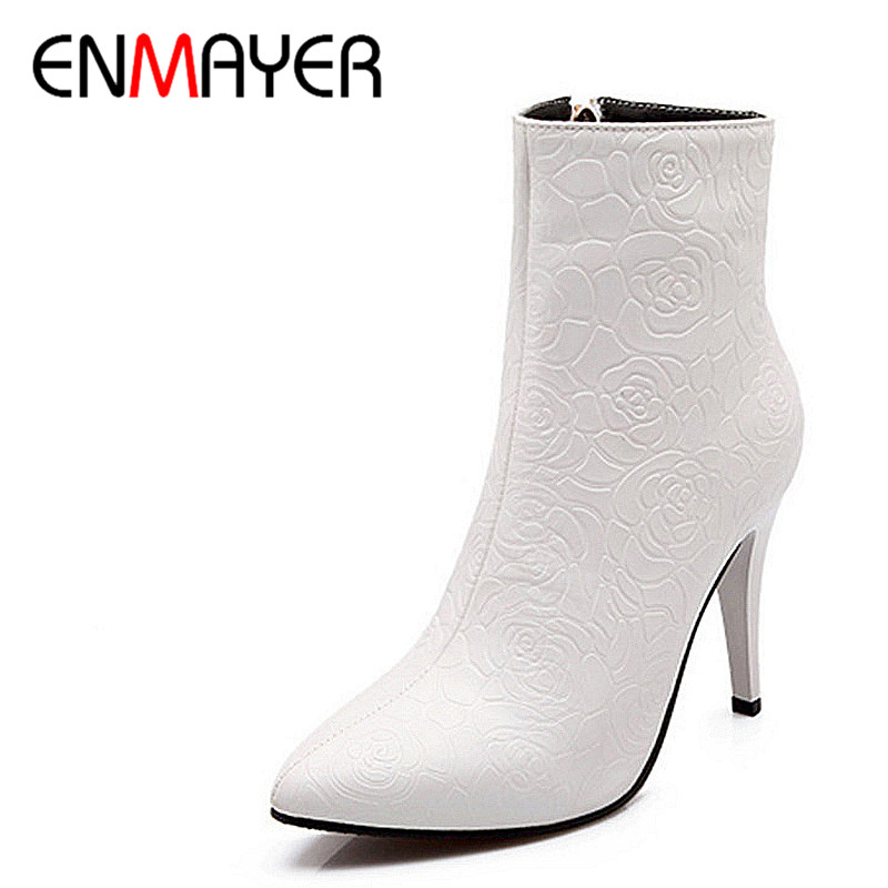 ФОТО ENMAYER New Women Boots Fashion High Heels Casual Wedding Shoes platform boots Pointed Toe Half zipper motorcycle Boots