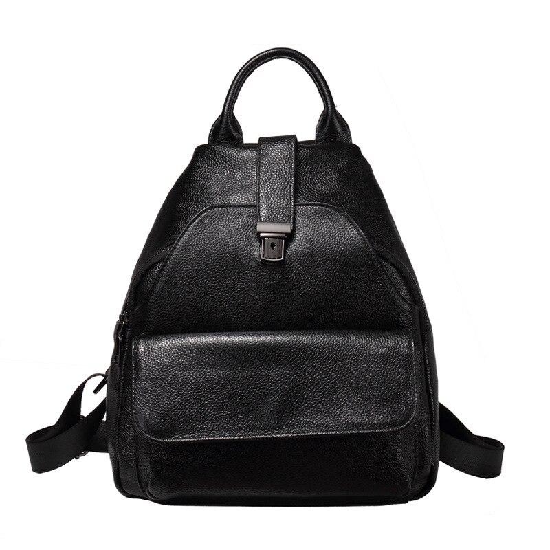 Genuine Leather Women Backpack Luxury Fashion Ladies Backpack School Bag Teenager Girls Casual Female Travel Rugzak Sac