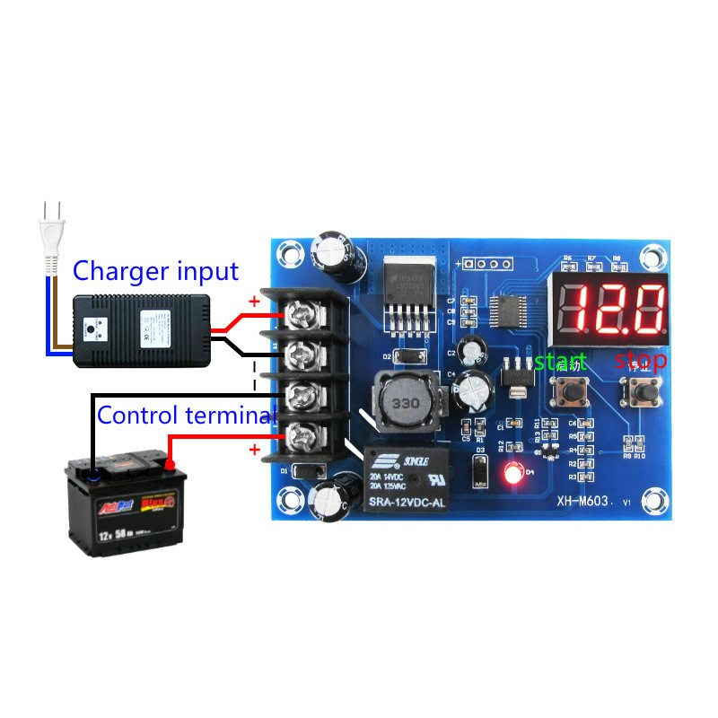 CNC Battery Lithium Batteries Charge Controlled Module Battery Charging Control Protection Switch 12-24V xh m603 li ion lithium battery charging control module battery charging control protection switch automatic on off 12 24v