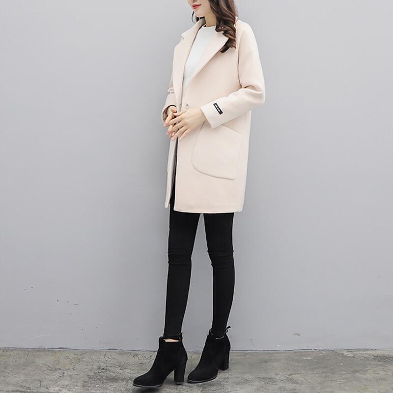 Abrigo largo de lana para mujer otoño ropa azul - 5