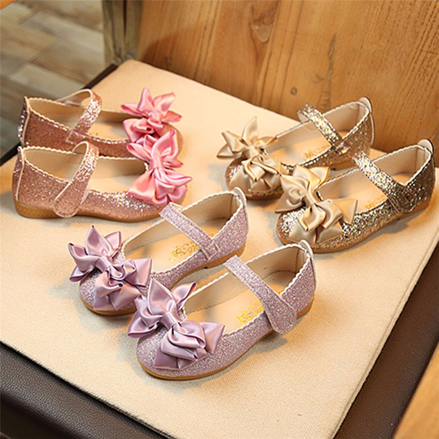 Toddler Baby Infant Girl Child Kid Bowknot Leather Single Party Princess Shoes 9