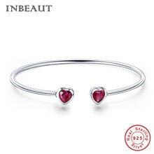 INBEAUT 100% 925 Sterling Silver Double Red Zircon Heart Open Bangle for Women Cute Romantic Heart-shaped CZ Bracelet Party Gift недорого