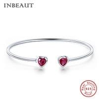 20c84491fd92 INBEAUT 100 925 Sterling Silver Double Red Zircon Heart Open Bangle For  Women Cute Romantic Heart