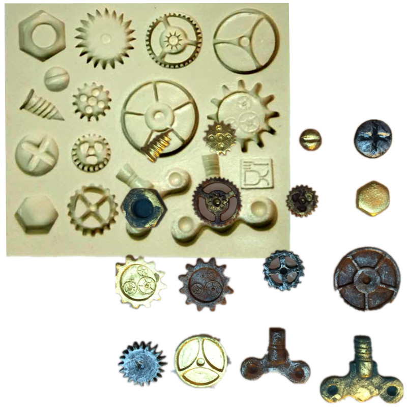 Steam Punk Gears Cogs Design Mat Fondant Cake Silicone Molds Cupcake Mould Chocolate Confeitaria Kitchen Accessories
