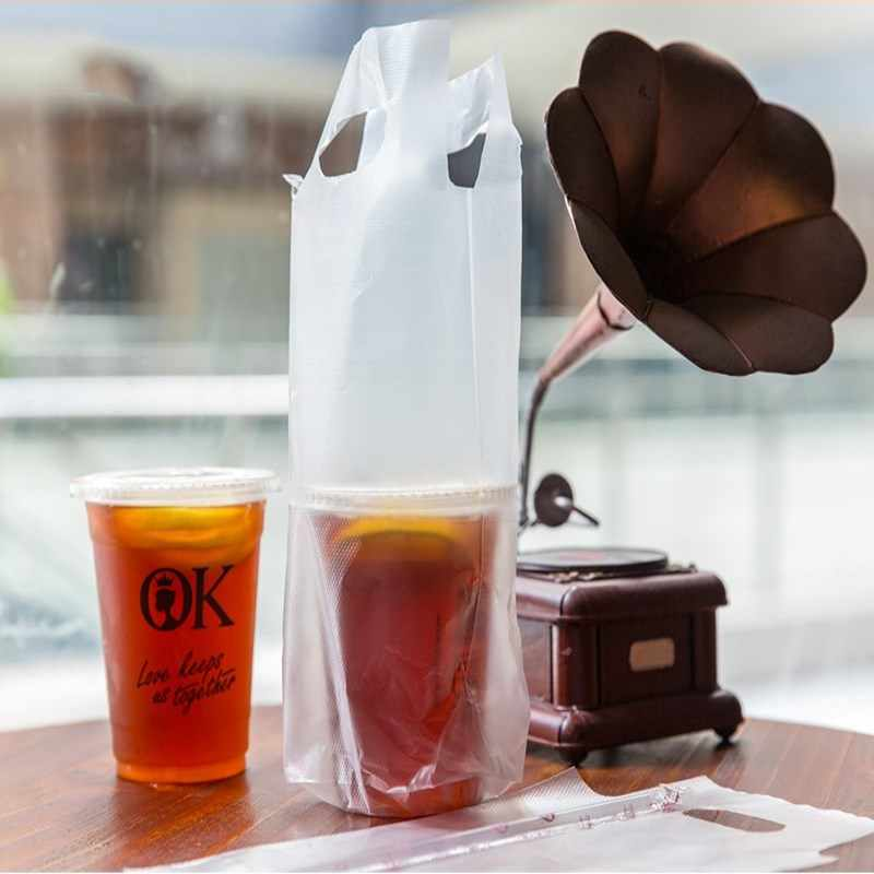 HARDIRON 100 PCS Coffee Tote Bag White Transparent Packaging Pocket Single and Double Cup Plastic Bags Cokes Tea Drink Pouch