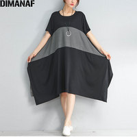 DIMANAF Summer Plus Size Women Dress Cotton Striped O Neck Casual Female Fashion Irregular Show Thin