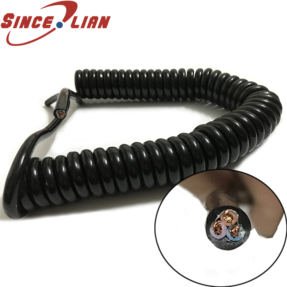 US $30.76 14% OFF|3 Cores Spring Spiral Cable Coiled Wire 1.0 1.5 Sauqre on