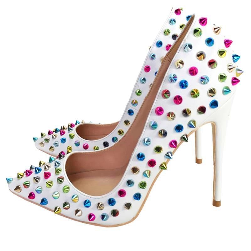 Couleur Pointu 45 Mujer Talons Luxe Dames Blanc 10cm Stylos Heels Chaussures De 8cm 8cm Haut 12cm Pompes Noce Heels Rivets Zapatos Tacon Heels Femme Heels Mixte jLGUzqMVSp